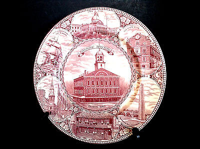 Vintage Historic Boston Jonroth Adams Staffordshire 10'' Plate Made In England