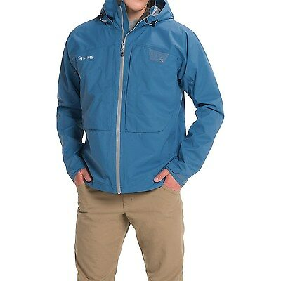 NEW W/TAG Simms Riffle Men's Fly Fishing Hooded Jacket - Waterproof - Blue - L