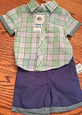First Impressions Infant Boy 2 Piece Plaid Shirt Short Outfit NWT. 6-9 Months