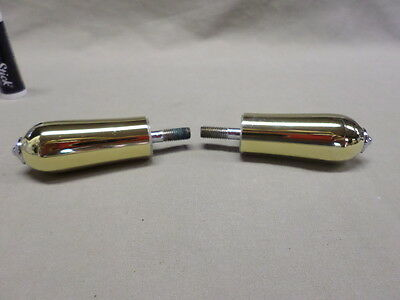 112D Pair of Polished Brass Bathroom Faucet Handles w/Silver Tone Tips item #j2