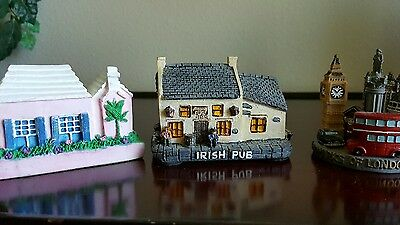 Collectible miniatures....set of 3..Irish pub, Bermuda Cottage, City of London