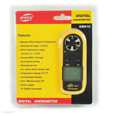 1x Portable Anemometer Thermometer Wind Speed Meter Weather Wind Speed Air Meter
