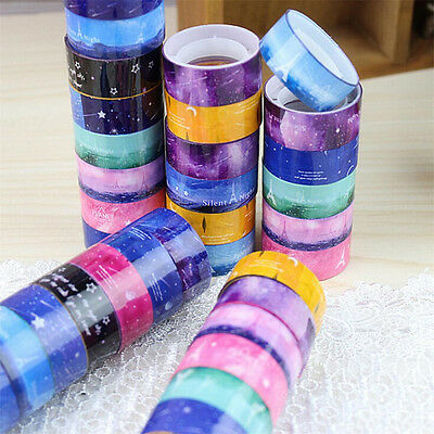 10 Pcs 2M Starry Sky Washi Diy Decor Scrapbooking Sticker Masking Tape Adhesive