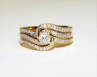 9K Yellow Gold 0.32ct Diamond 3x Ring Bridal Set Engagement Wedding 4.5gm 716249