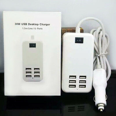 6 USB Port Multi-function Car Charger Power Adapter for iPhone Samsung