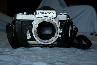 NIKON Nikkormat FTN SLR 35mm film camera, body only, leather half case and strap