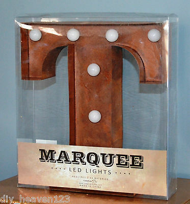"T Letter - Industrial Look Marquee Light/Wall Table Art Decor Rust Look 9"" New"