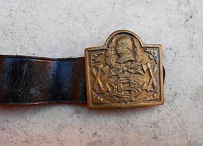 PERU original vintage firefighter leather belt + buckle brass 1940s Length 100cm
