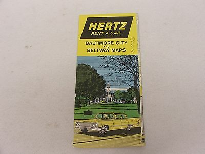 Hertz Rent a Car, Baltimore City and Beltway Maps 1964 Maryland