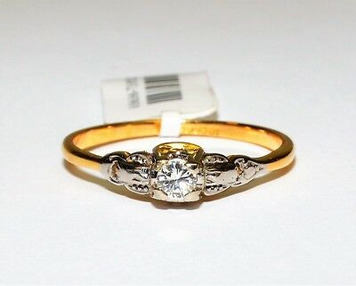 Vintage 18k Yellow Gold Solitaire 0.16ct H/SI Diamond Engagement Ring #719520