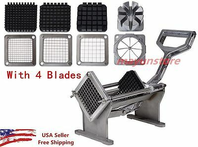 Potato French Fry Fruit Vegetable Commercial Cutter Slicer Cutting W/ 4 Blades V