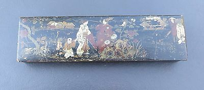 Antique/Vintage Lacquered Pencil / Paint Brush Box with Japanese Decoration