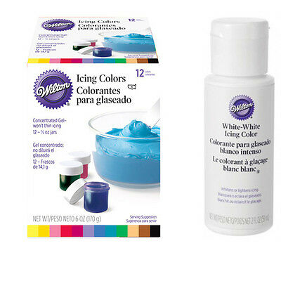 Wilton 12 Set Food Colouring Gel Paste & White White - Icing Cake Colour Pack