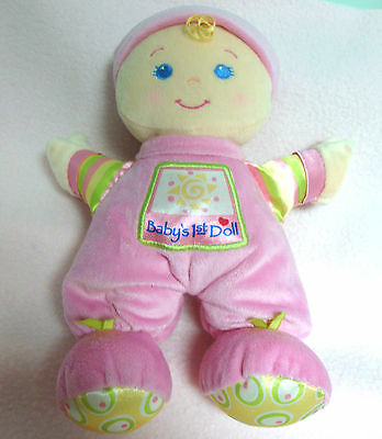 Fisher Price BABY'S 1st FIRST DOLL~Pink Velour~w/Rattle Lovey Soft Plush~SWEET