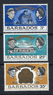 Barbados - 1968 Golden Jubilee Girls Guide - 3 Values Mnh Post Free To The Uk.