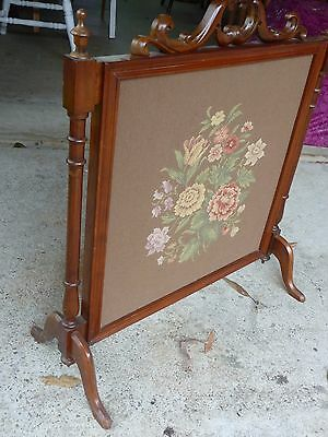 Antique Mahogany/tapestry Fire Screen