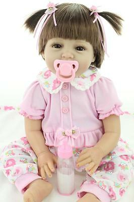 "22"" Reborn Baby Doll Soft Silicone Lifelike Short Hair Doll Gift Bambole"