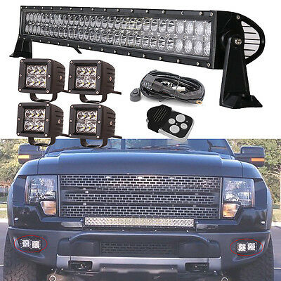 30 32inch Led Light Bar + 3x3 Bumper CREE Pods Offroad Toyota Jeep Ford SUV ATVs