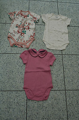BN Mamas and Papas 3 x Girls Bodysuits Vests - 6-9 Months