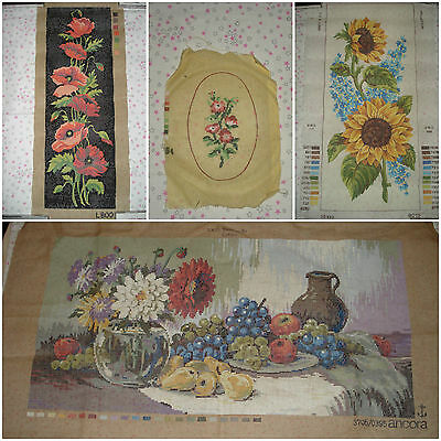 TELA ricamo mezzo punto half cross stitch embroidery canvas vintage flowers