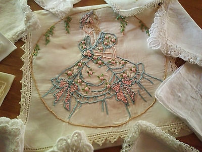 Crinoline Lady~Grub Roses ~Case & 10 Vint Handkerchiefs~Vintage Hand Embroidered
