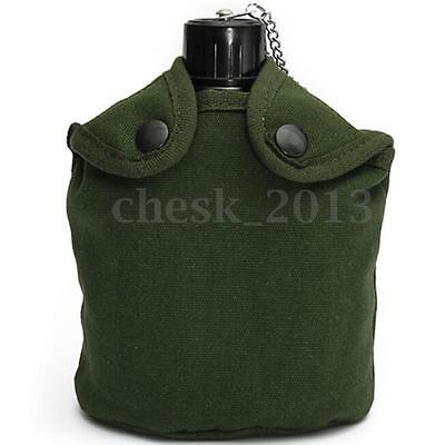 Military Aluminum Stainless Steel Canteen Water Bottle Cup Sports Camping Hiking