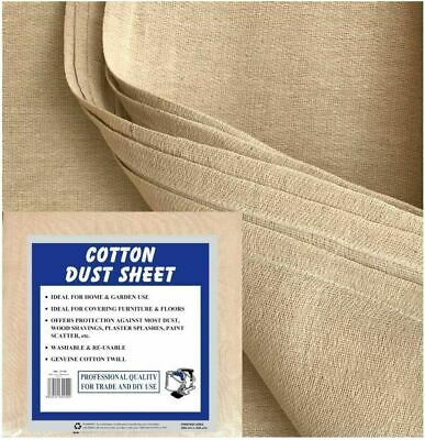 5 X Premium Quality Heavy Duty 100%  Cotton Twill Dust Sheet For Professionals