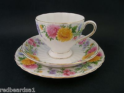 Tuscan September Song Chrysanthemum Trio Cup Saucer Plate Bone China F298 c1940s