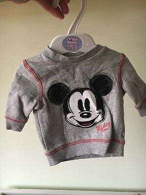 Disney Boys Micky Mouse Grey Jumper - Up To 1 Month