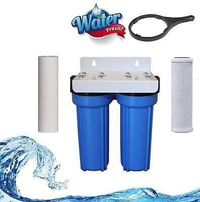 Whole House Twin Stage Water Filter Kit / carbon 5 and sediment 5 micron System