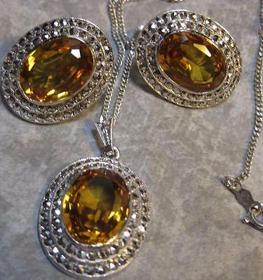 vintage Art Deco Sterling rhodium Marcasite Necklace Earrings Citrine Glass
