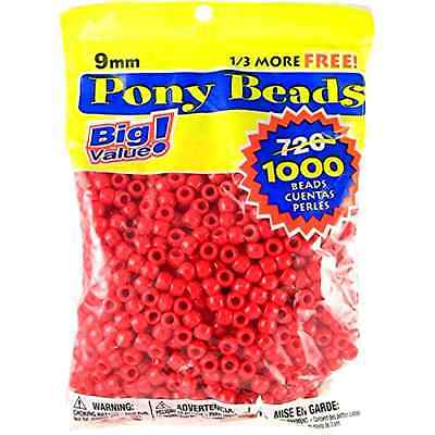 Darice 06121-2-01 1000 Count Pony Beads, 9mm, Opaque Red