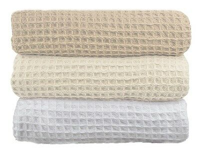 New Premium 100% Cotton 350gsm Waffle Blanket Single/Queen Size In Three colors