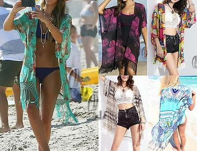 WHOLESALE BULK LOT 10 MIXED Style Chiffon Beach Kimono Cover Open Top sw044-077