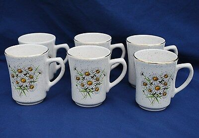 Six (6) Kernewek (Cornwall) Pottery White Daisy Coffee Cups. Good Condition.