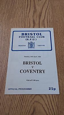 Bristol v Coventry April 1986 Rugby Union Programme