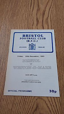 Bristol v Weston-Super-Mare Dec 1986 Rugby Union Programme