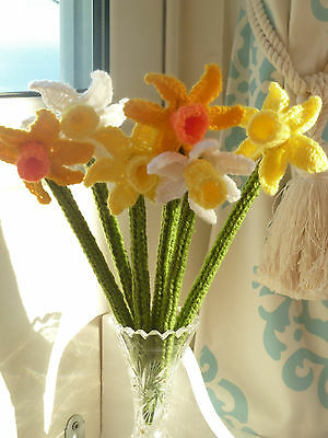 6 Hand Knitted Spring Daffodils-Mixed Mother's Day/Easter/ Home/Gift-new home