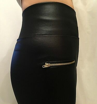 New Stretchy Black Leather Wet Faux Look Mat High Waist Shiny Slim Leggings S