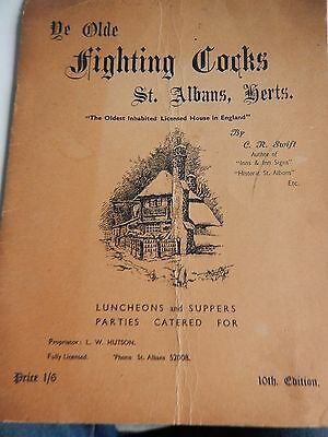Vintage Booklet - The Fighting Cocks Inn St Albans Herts 10th Ed 1950's ??