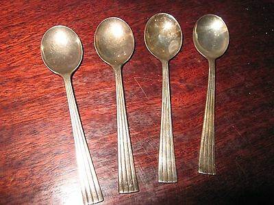 Vintage Tea Spoons Siver Plate 100 / 90 ? Set of 4 x  Caviar Egg