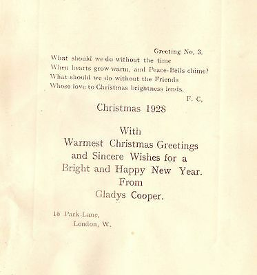 CHRISTMAS CARD Actress FROM DAME GLADYS COOPER Park Lane LONDON 1928