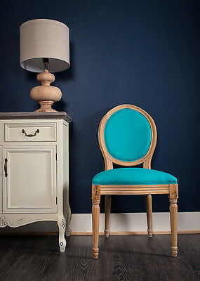 French Louis Side Chair White Blue Linen Oak Antique Dressing Bedroom Dining
