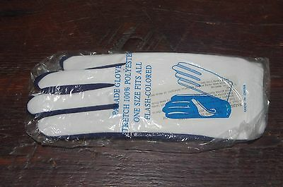 PARADE GLOVES, FLASH COLORED Dance Gloves White & Navy, One Size Fits All