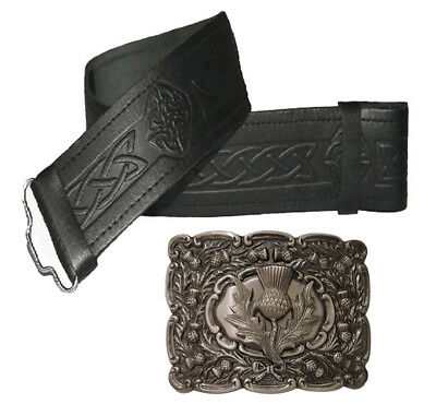 Celtic Embossed Genuine Leather Scottish Kilt Belt Buckle Pin Set Highland Wear
