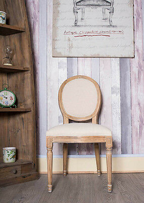 French Louis Side Chair White Oatmeal Linen Oak Antique Dressing Bedroom Dining
