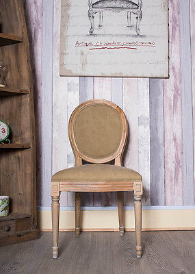 French Louis Side Chair Khaki Green Suede Oak Antique Dressing  Bedroom Dining