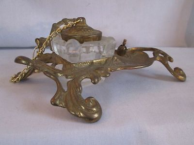 Vintage Art Nouveau Gold Ormolu Brass Inkwell Stand with Glass Ink Well