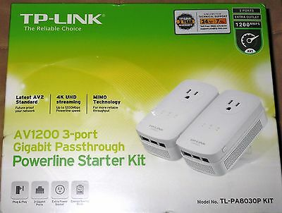 Tp-Link Av1200 Tl-Pa8030P 3-Port Gigabit Ethernet Passthrough Powerline Kit