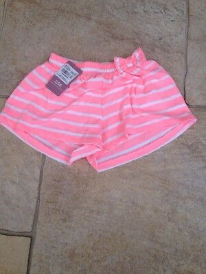 Girls New Pink And White stripe Shorts Age 1-2 Years